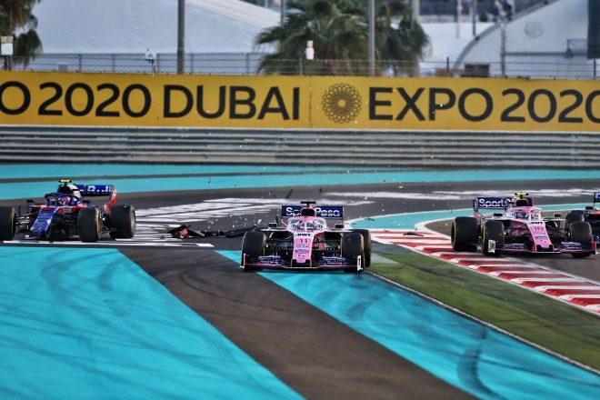 2019年F1第21戦アブダビGP ピエール・ガスリー(トロロッソ・ホンダ)、ランス・ストロールおよびセルジオ・ペレス(レーシングポイント)のクラッシュ