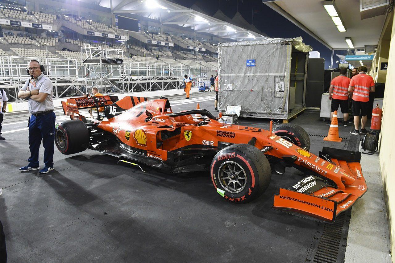 2019年F1第21戦アブダビGP レース後、パルクフェルメにとめられたシャルル・ルクレールのフェラーリSF90
