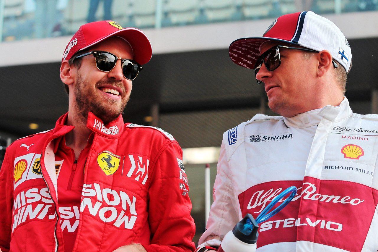 2019年F1第21戦アブダビGP セバスチャン・ベッテル(フェラーリ)とキミ・ライコネン(アルファロメオ)