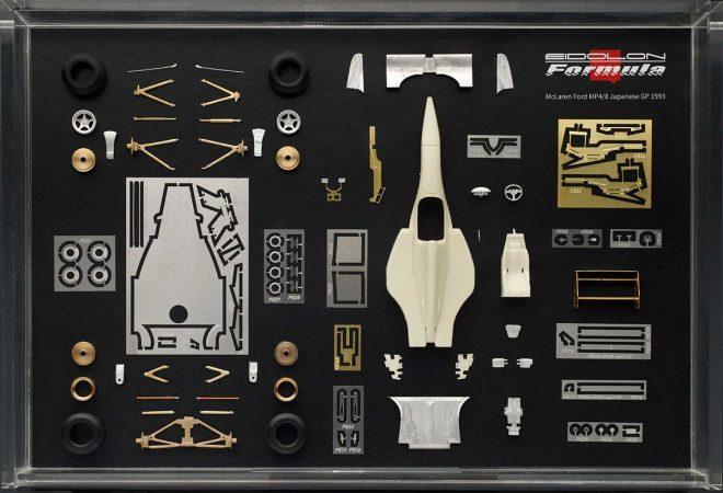 マクラーレンMP4/8限定ミニチュアカーはレジンと金属パーツを組み合わせて作り上げられる