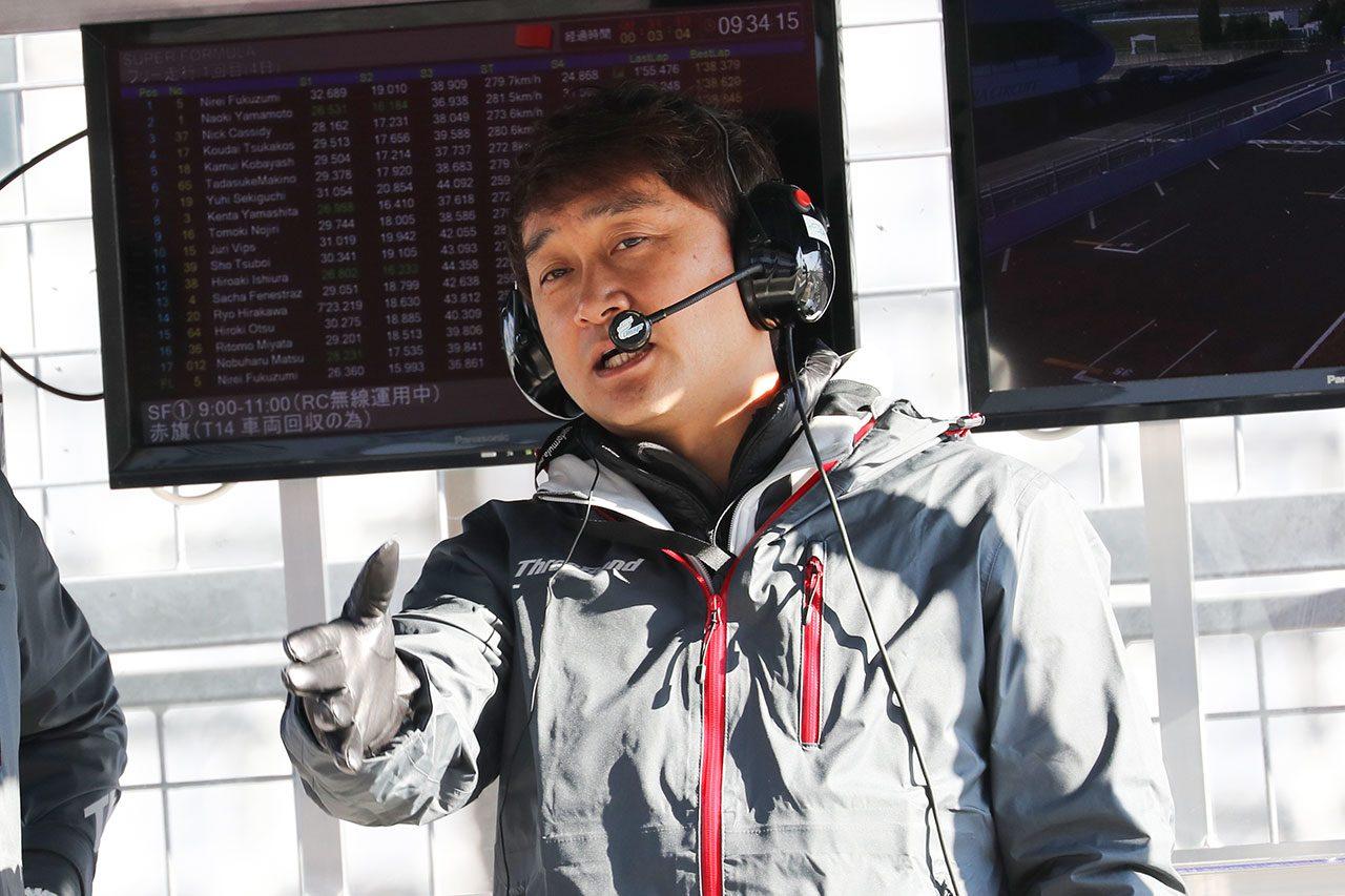 全日本スーパーフォーミュラ選手権の合同テスト・ルーキードライバーテスト 道上龍監督(ThreeBond Drago CORSE)