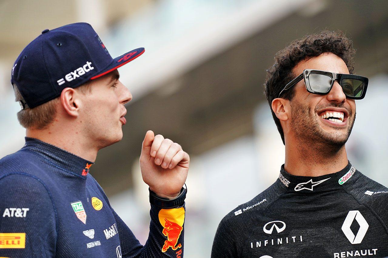 2019年F1最終戦アブダビGP マックス・フェルスタッペン(レッドブル・ホンダ)とダニエル・リカルド(ルノー)