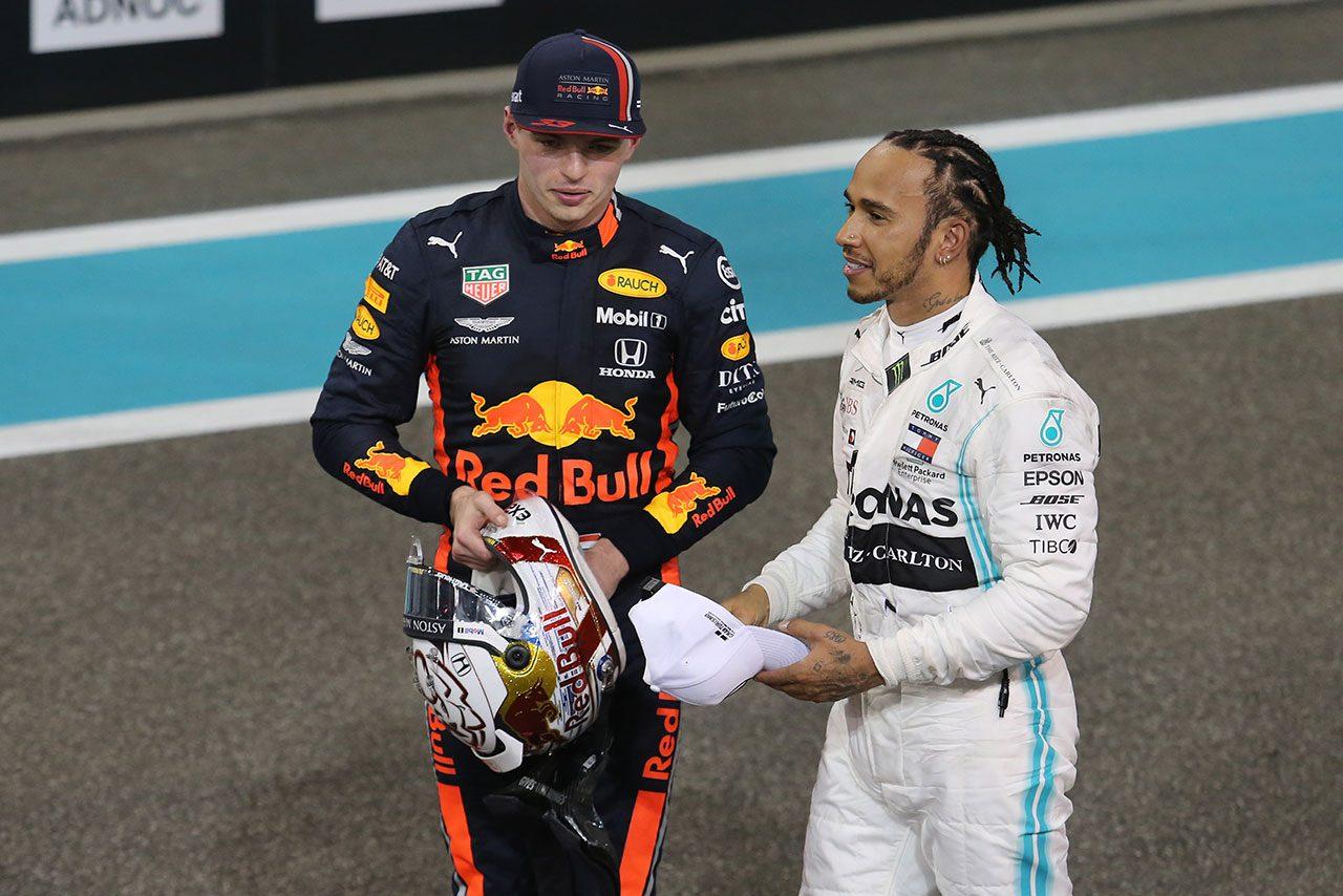 2019年F1最終戦アブダビGP マックス・フェルスタッペン(レッドブル・ホンダ)とルイス・ハミルトン(メルセデス)