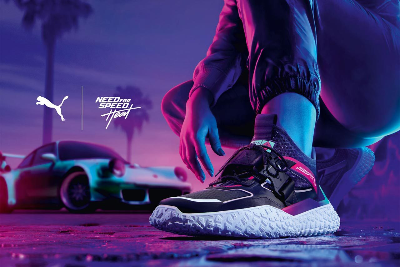 プーマ×NEED for Speedのコラボシューズ『PUMA x NEED FOR SPEED OCTN HI』を東京オートサロンで発売中