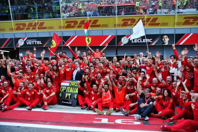 2019年F1イタリアGPで優勝したシャルル・ルクレール(フェラーリ)