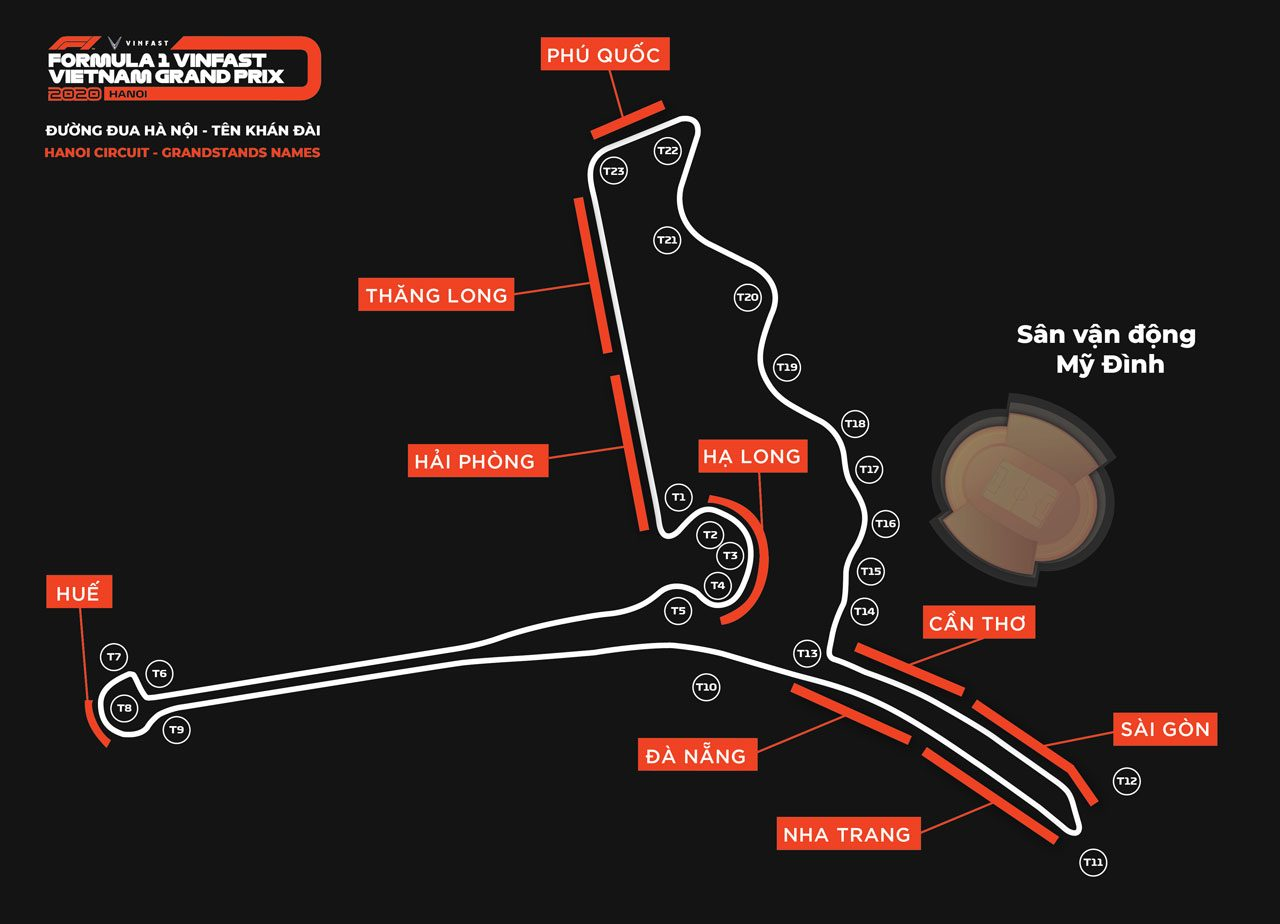 F1ベトナムGPが開催されるハノイ・サーキットのコース図