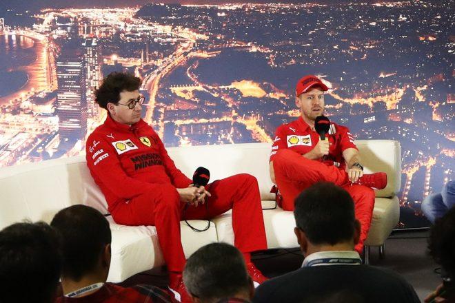 2020年第2回F1プレシーズンテスト1日目:セバスチャン・ベッテルとマッティア・ビノット代表(フェラーリ)