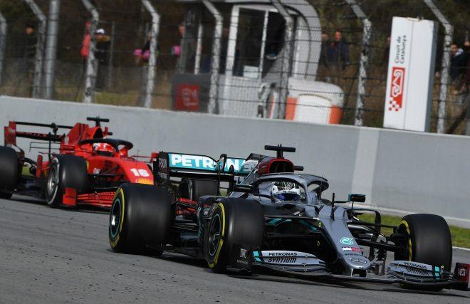 2020年第2回F1プレシーズンテスト3日目:バルテリ・ボッタス(メルセデス)とシャルル・ルクレール(フェラーリ)