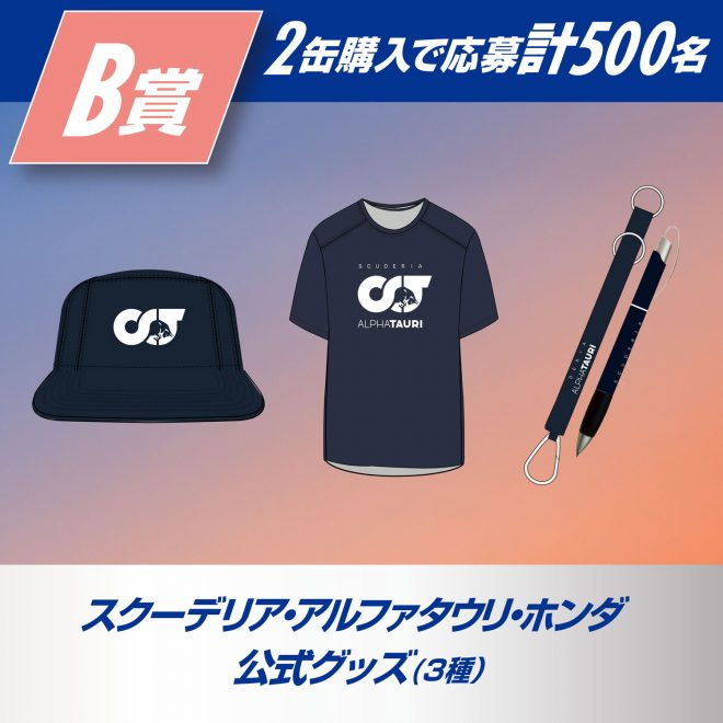 B賞(各販売チャネル共通)アルファタウリ・ホンダ 公式グッズ3種類(キャップ、Tシャツ、キーリング&ペン)いずれか …計500名様(2本購入)