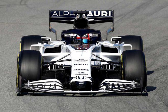 アルファタウリの2020年型F1マシン『AT01』。レッドブルRB16とは違い、ワイドなフロントノーズを備える
