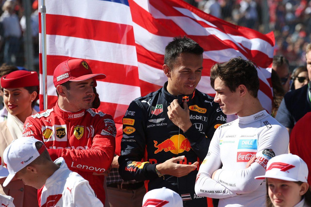2019年F1アメリカGP シャルル・ルクレール(フェラーリ)、アレクサンダー・アルボン(レッドブル・ホンダ)、ランド・ノリス(マクラーレン)