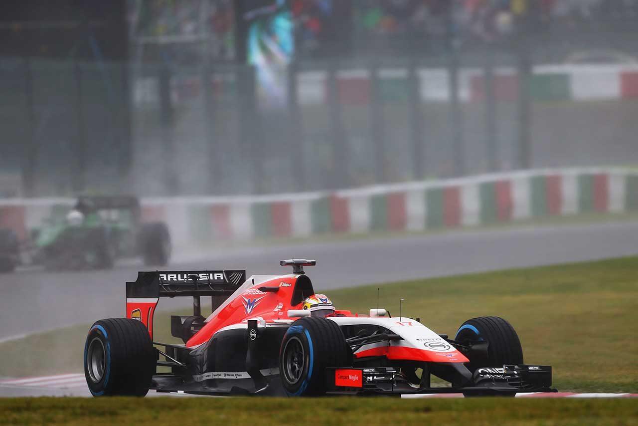2014年F1日本GP決勝を戦うジュール・ビアンキ(マルシャMR03)
