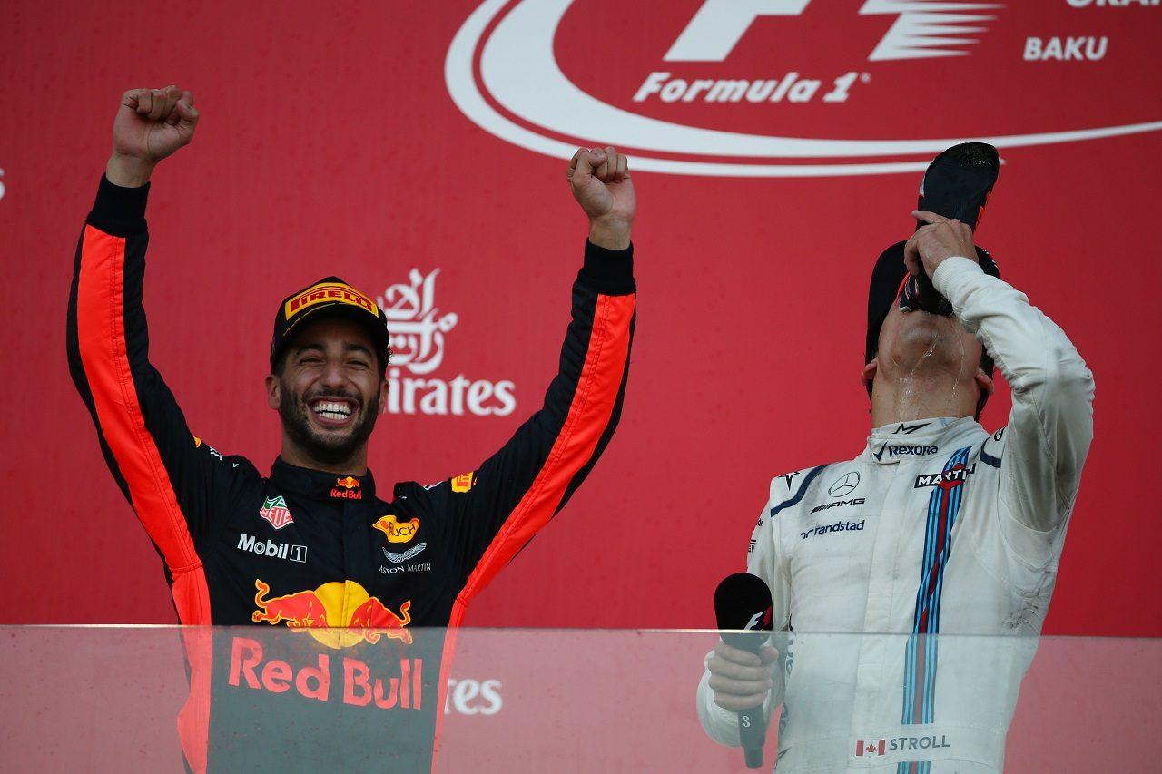 2017年F1アゼルバイジャンGP 優勝したダニエル・リカルド(レッドブル)と3位のランス・ストロール(ウイリアムズ)