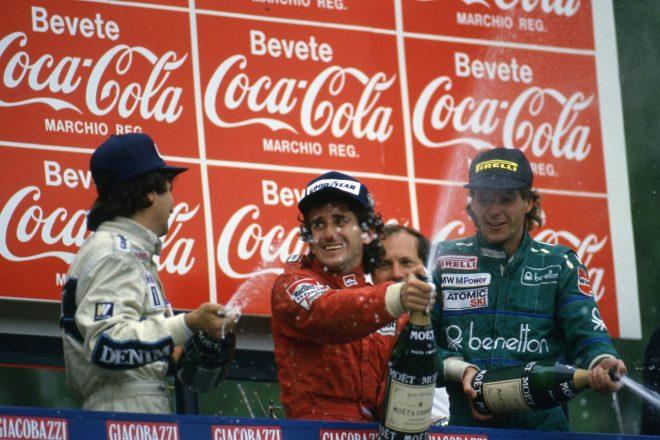 1986年サンマリノGP 優勝したアラン・プロスト(マクラーレン)、2位ネルソン・ピケ(ウイリアムズ)、3位ゲルハルト・ベルガー(ベネトン)