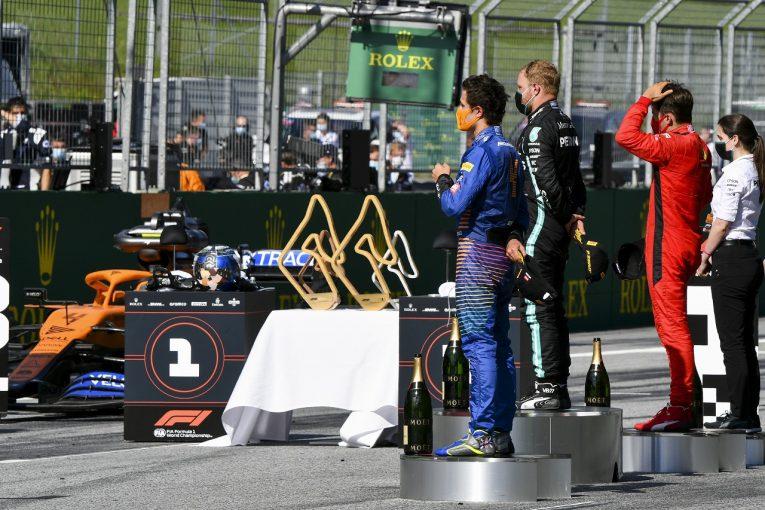 F1   【SNS特集】F1開幕戦オーストリアGP:ダブルリタイアに動揺するレッドブル代表。初表彰台でノリスがうれし涙