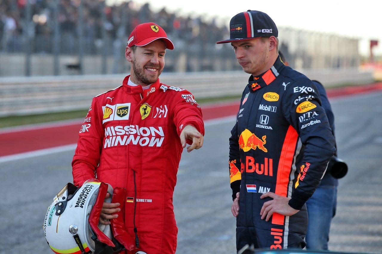 2019年F1アメリカGP セバスチャン・ベッテル(フェラーリ)とマックス・フェルスタッペン(レッドブル・ホンダ)