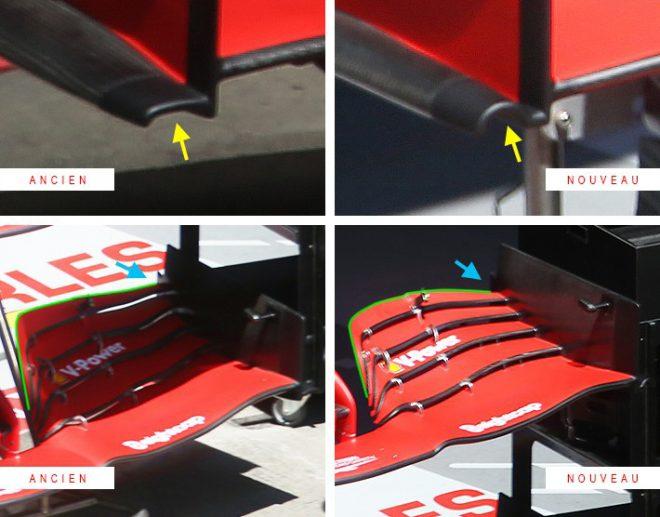 F1第2戦シュタイアーマルクGP フェラーリF1のフロントウイング 新型(右)/旧型(左)