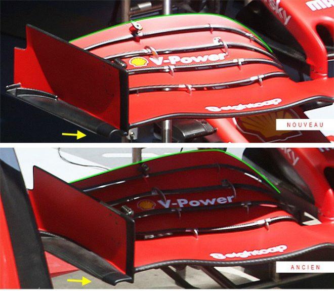 F1第2戦シュタイアーマルクGP フェラーリF1のフロントウイング 新型(上)/旧型(下)