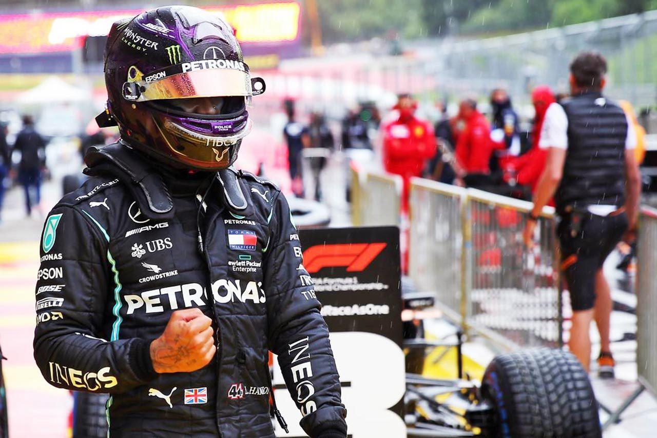 2020年F1第2戦シュタイアーマルクGPの予選でポールを獲得したルイス・ハミルトン(メルセデス)