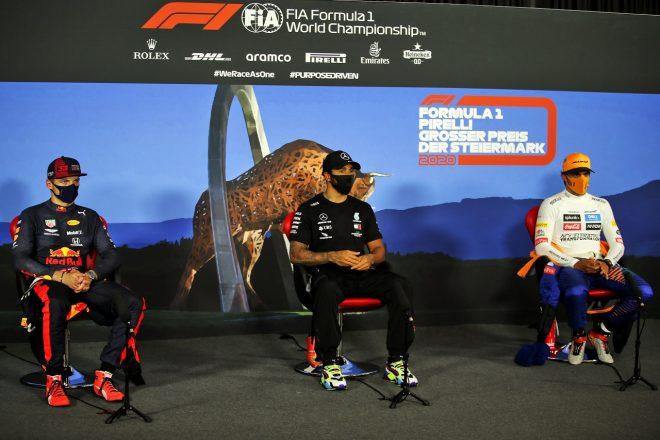 2020年F1第2戦シュタイアーマルクGP予選トップ3会見 ルイス・ハミルトン(メルセデス)、マックス・フェルスタッペン(レッドブル・ホンダ)、カルロス・サインツJr.(マクラーレン)