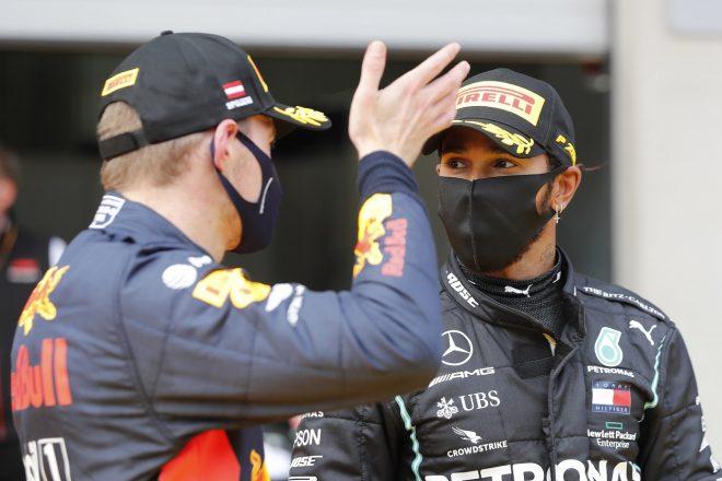 2020年F1第2戦シュタイアーマルクGP 優勝したルイス・ハミルトン(メルセデス)と3位のマックス・フェルスタッペン(レッドブル・ホンダ)
