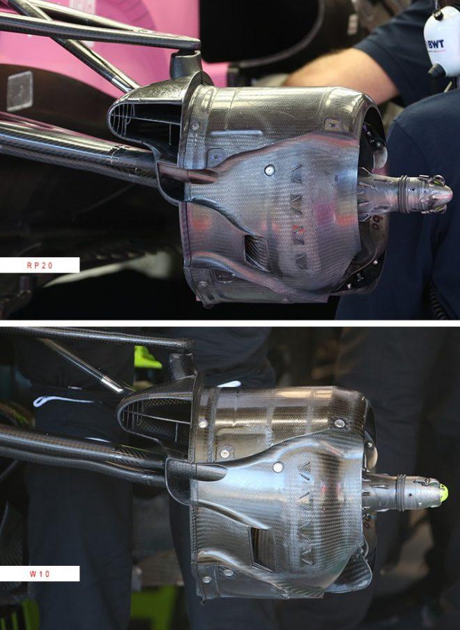 2020年F1第2戦シュタイアーマルクGP:レーシングポイントRP20のブレーキダクト(上)/メルセデスW10のブレーキダクト(下)