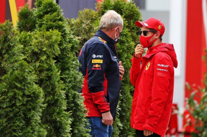 セバスチャン・ベッテル(フェラーリ)&ヘルムート・マルコ(レッドブル モータースポーツアドバイザー)
