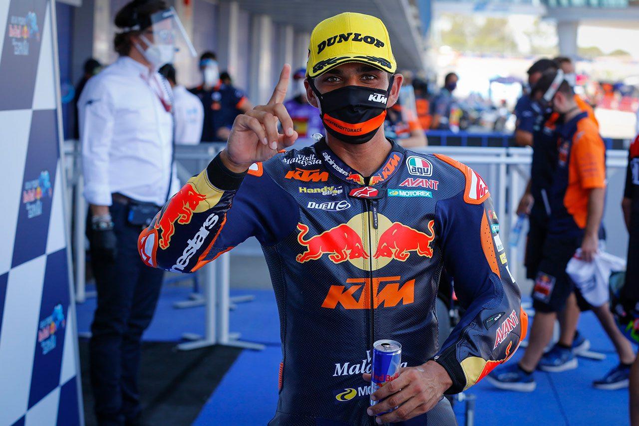 2020MotoGP第2戦スペインGP Moto2クラス:ポールポジションを獲得したホルヘ・マルティン(Red Bull KTM Ajo)