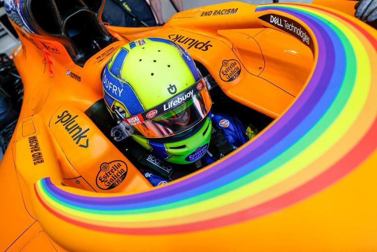 F1   F1ベルギーGPに特別ヘルメットを用意したノリス。あしらわれた紋章が誤解を招く可能性を考慮し使用せず