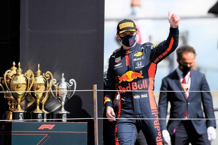F1 | フェルスタッペン、2位キープのピット戦略に後悔なし「僕にもパンクの危険があった」レッドブル・ホンダ【F1第4戦決勝】