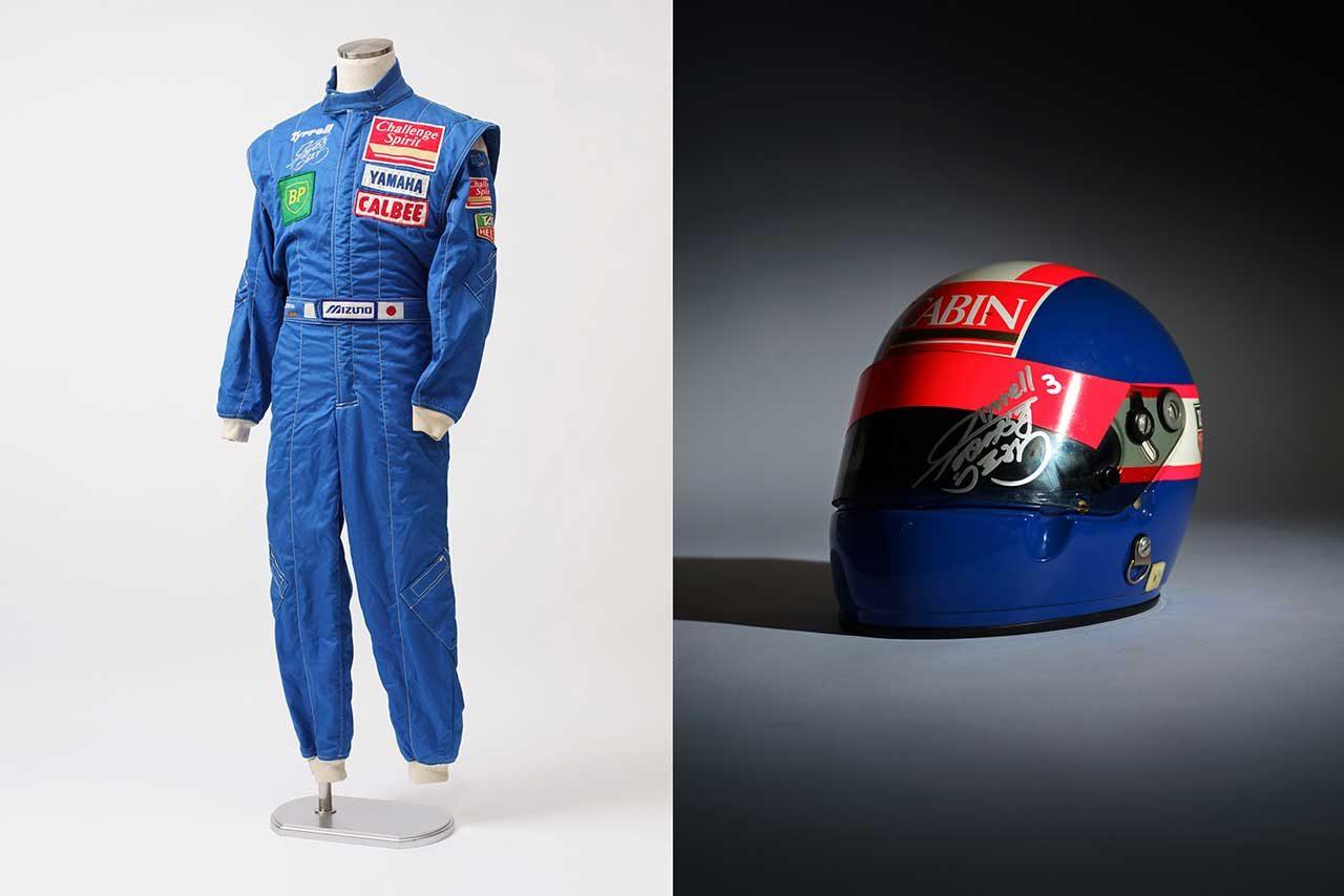 オークション全体での最高落札額となったのは、元F1ドライバー片山右京のティレル時代のヘルメットとレーシングスーツで、356万円で落札となった