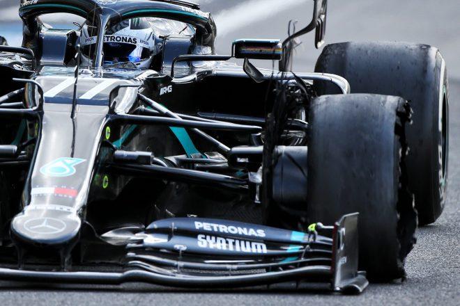 2020年F1第4戦イギリスGP決勝 バルテリ・ボッタス(メルセデス)のタイヤがパンク