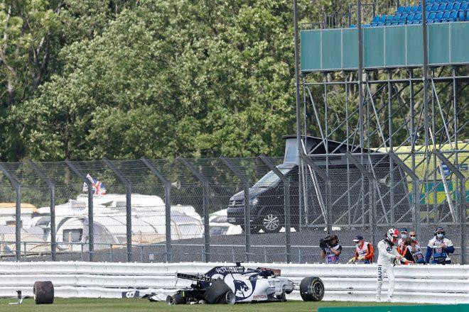 2020年F1第4戦イギリスGP決勝 ダニール・クビアト(アルファタウリ・ホンダ)がクラッシュ