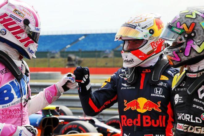 2020年F1第5戦70周年記念GP 予選後のマックス・フェルスタッペン(レッドブル・ホンダ)、ニコ・ヒュルケンベルグ(レーシングポイント)、ダニエル・リカルド(ルノー)