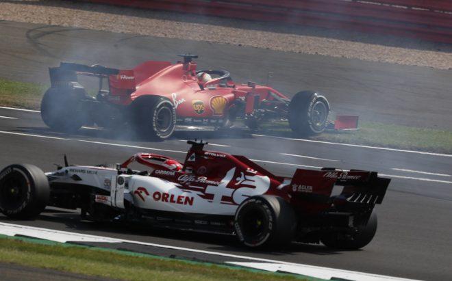 2020年F1第5戦70周年記念GP セバスチャン・ベッテル(フェラーリ)が決勝スタート直後にスピン