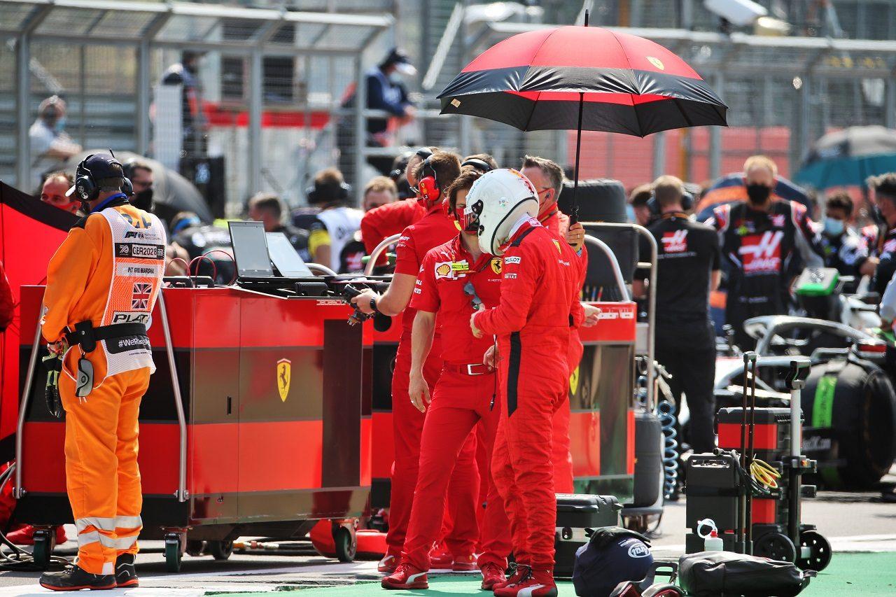 2020年F1第5戦70周年記念GP 決勝前のセバスチャン・ベッテル(フェラーリ)
