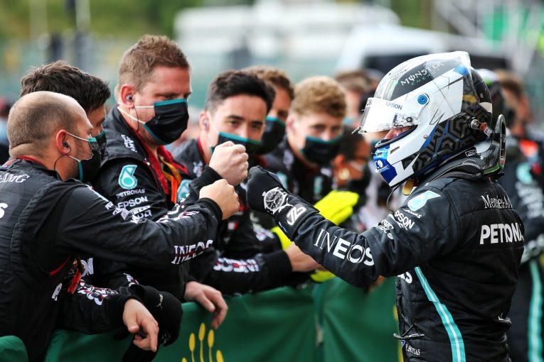 F1 | ボッタス2位「子供のころのアイドル、ハッキネンの記録に並んだのはうれしいこと」メルセデス【F1第7戦決勝】