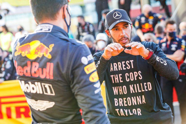 F1   FIA、F1表彰式でのメッセージTシャツ着用を禁止。ハミルトンの行為を受け規則を変更