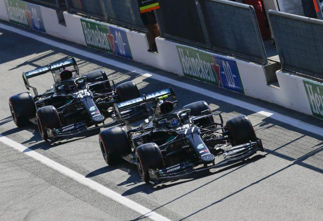2020年F1第8戦イタリアGP バルテリ・ボッタスとルイス・ハミルトン(メルセデス)