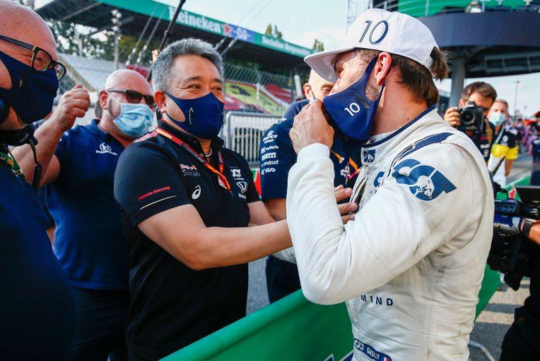 F1   表彰式では感無量。ガスリーの初勝利は「日本でレースをしているドライバーの大きな励み」/ホンダF1山本雅史MD会見