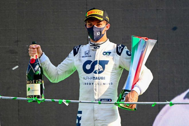 2020年F1第8戦イタリアGP 自身初優勝を飾ったピエール・ガスリー(アルファタウリ・ホンダ)
