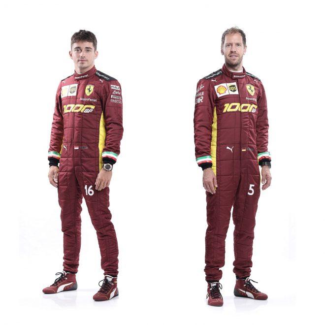 2020年F1第9戦トスカーナGP 1000戦参戦記念のスペシャルカラーが施されたフェラーリのレーシングスーツ