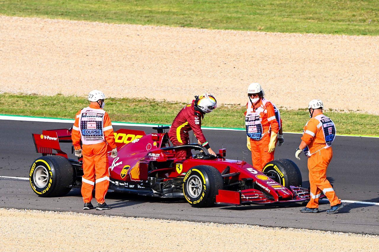 2020年F1第9戦トスカーナGP FP2でセバスチャン・ベッテル(フェラーリ)がトラブルでストップ