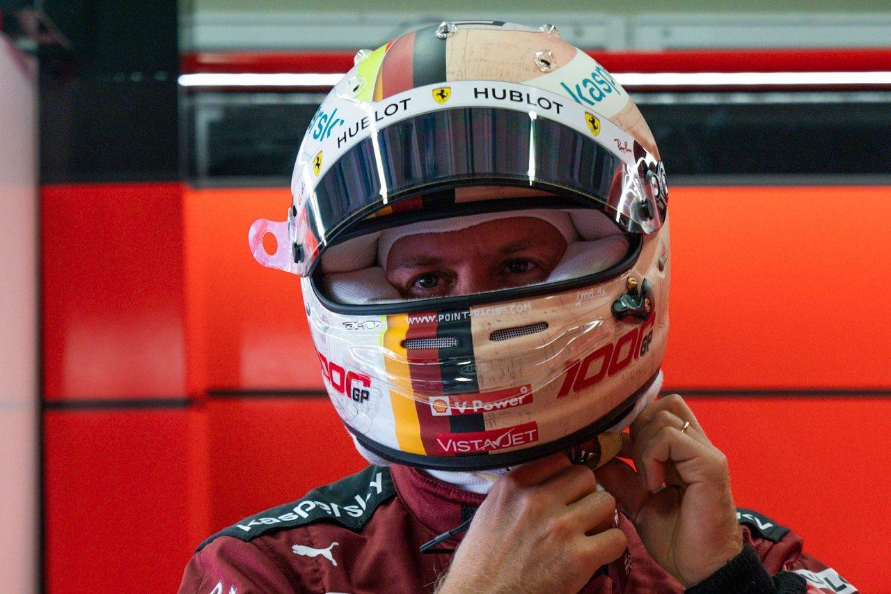 2020年F1第9戦トスカーナGP 今回スペシャルデザインのヘルメットを使用しているセバスチャン・ベッテル(フェラーリ)