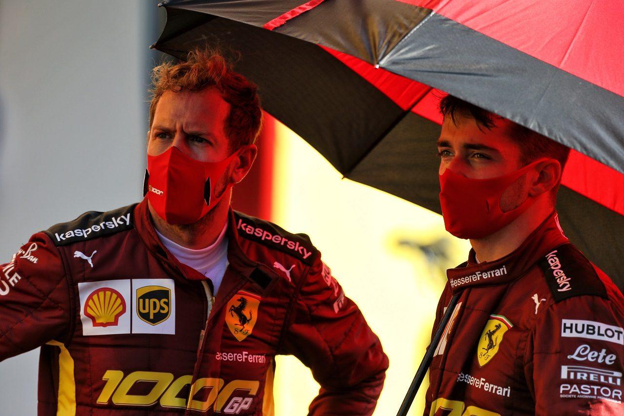 2020年F1第9戦トスカーナGP セバスチャン・ベッテルとシャルル・ルクレール(フェラーリ)