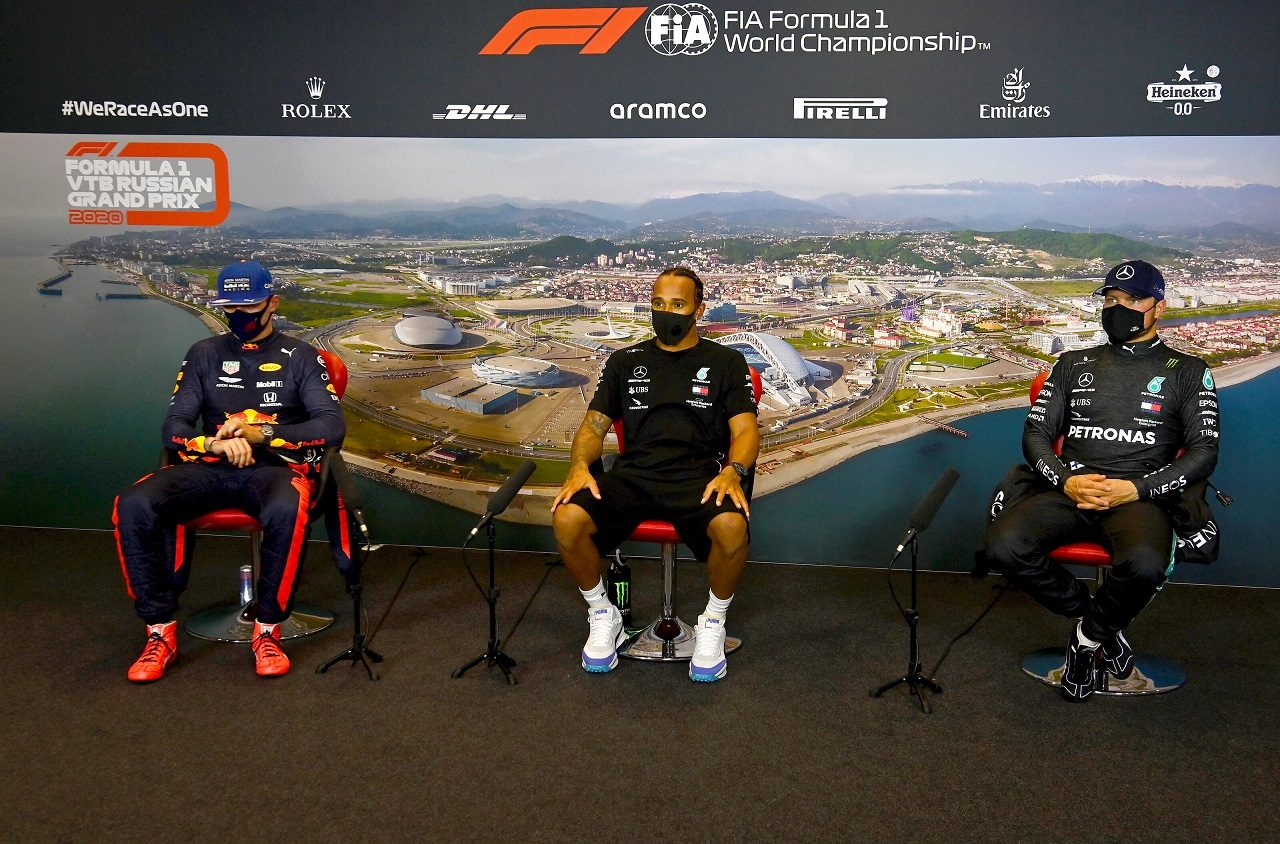 2020年F1第10戦ロシアGP予選トップ3記者会見 ルイス・ハミルトン(メルセデス)、マックス・フェルスタッペン(レッドブル・ホンダ)、バルテリ・ボッタス(メルセデス)