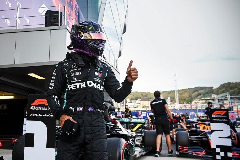F1 | ハミルトン「過去最大の困難を乗り越えポールをつかんだ」予選後の審議でも処罰なし:メルセデス【F1第10戦】