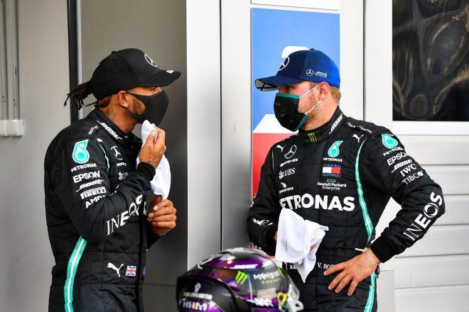 2020年F1第10戦ロシアGP バルテリ・ボッタスとルイス・ハミルトン(メルセデス)