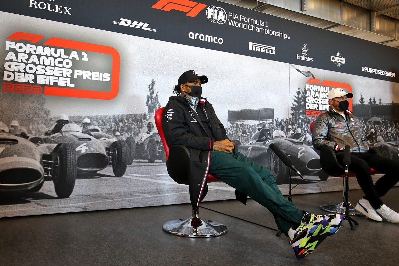 2020年F1第11戦F1アイフェルGP ルイス・ハミルトンとバルテリ・ボッタス(メルセデス)