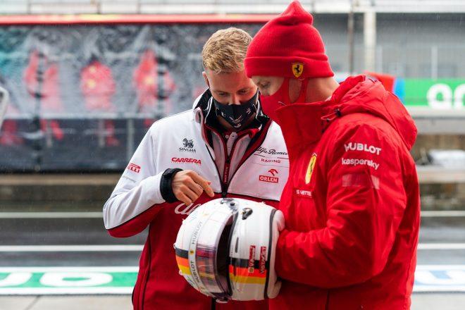 2020年F1第11戦アイフェルGP セバスチャン・ベッテル(フェラーリ)とミック・シューマッハー